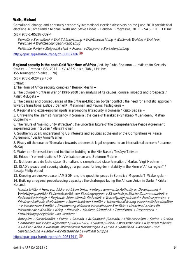dok-line AFRIKA 2015 / 2 14 Walls, Michael Somaliland: change and continuity : report by international election observers ...