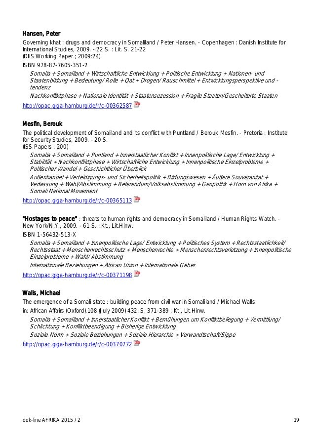 dok-line AFRIKA 2015 / 2 19 Hansen, Peter Governing khat : drugs and democracy in Somaliland / Peter Hansen. - Copenhagen ...
