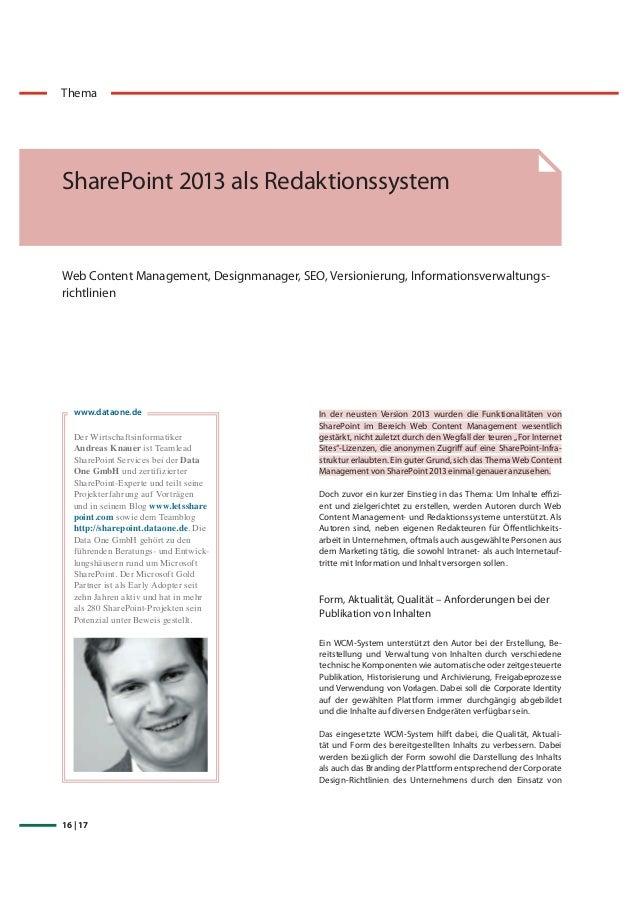 16 | 17 Thema SharePoint 2013 als Redaktionssystem Web Content Management, Designmanager, SEO, Versionierung, Informations...