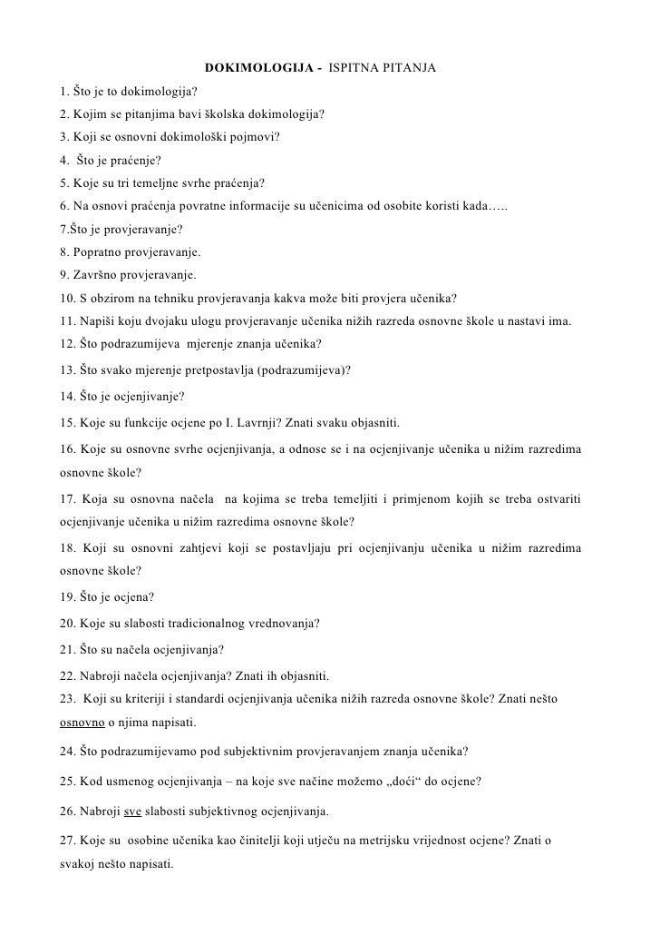 Dokimologija Ispitna Pitanja