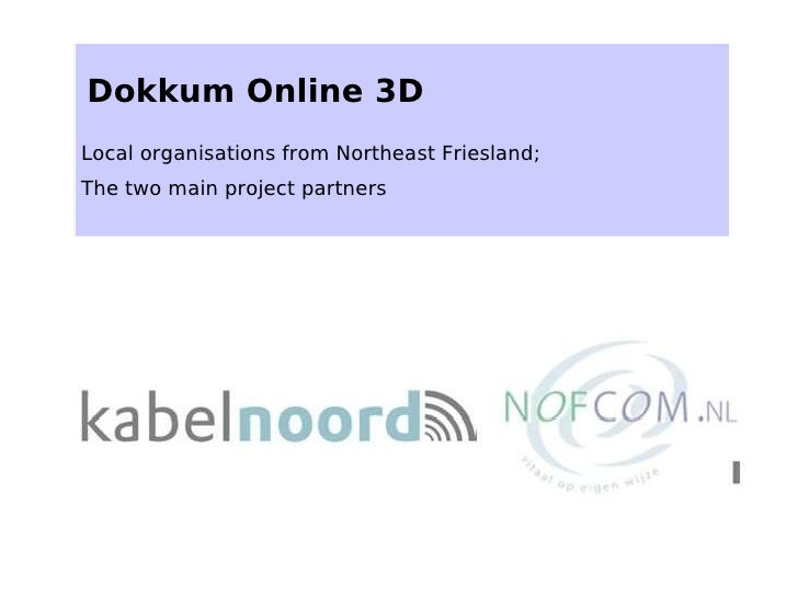 Dokkum Online 3D Local organisations from Northeast Friesland; The two main project partners