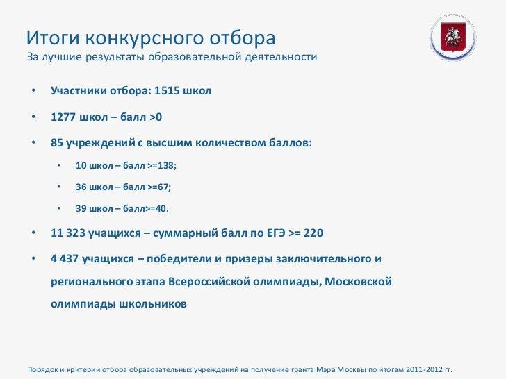 Итоги конкурсного отбораЗа лучшие результаты образовательной деятельности •   Участники отбора: 1515 школ •   1277 школ – ...