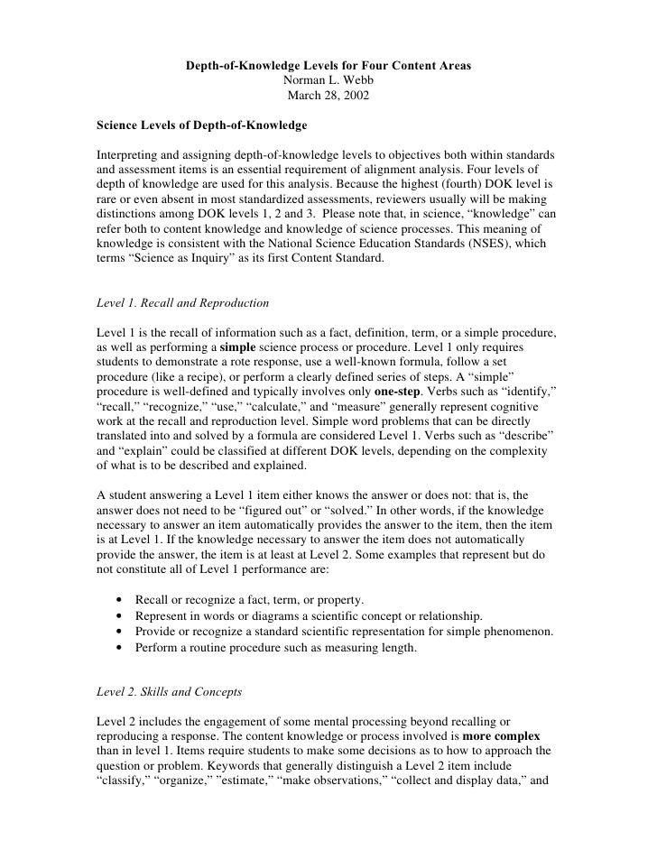 Depth-of-Knowledge Levels for Four Content Areas                                 Norman L. Webb                           ...