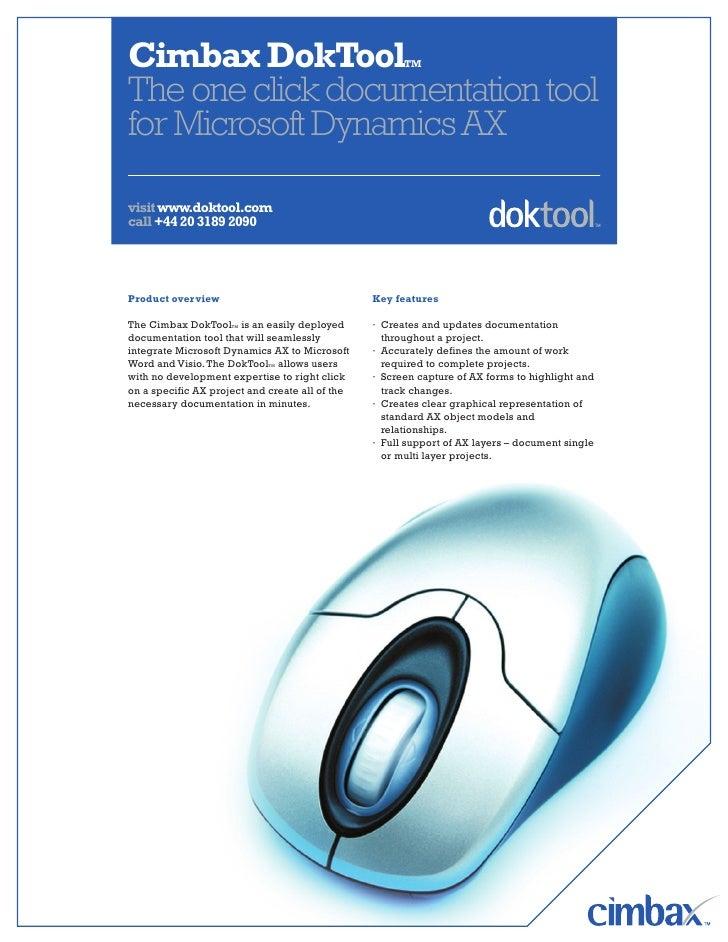Cimbax DokToolTM The one click documentation tool for Microsoft Dynamics AX  visit www.doktool.com call +44 20 3189 2090  ...