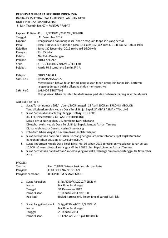KEPOLISIAN NEGARA REPUBLIK INDONESIADAERAH SUMATERA UTARA – RESORT LABUHAN BATUUNIT TIPITER SATUAN RESKRIMJl. M.H Thamrin ...