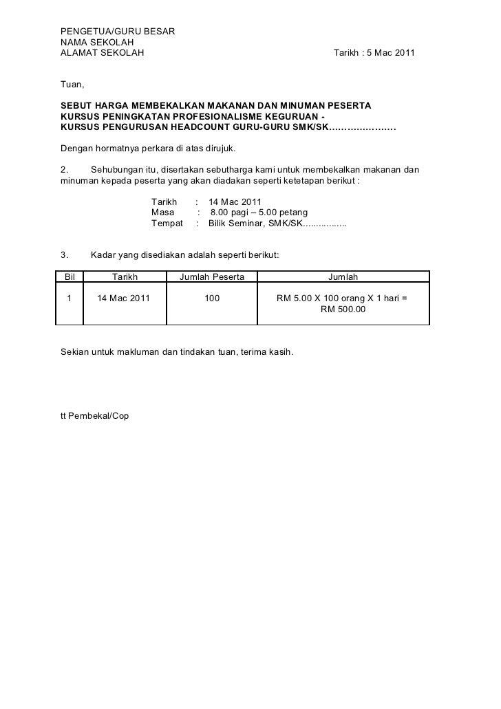PENGETUA/GURU BESARNAMA SEKOLAHALAMAT SEKOLAH                                                      Tarikh : 5 Mac 2011Tuan...