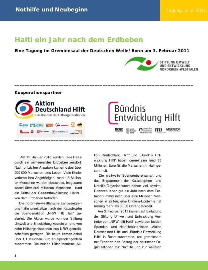 Nothilfe und Neubeginn                                                                         Tagung, 3. 2. 2011Haiti ein...