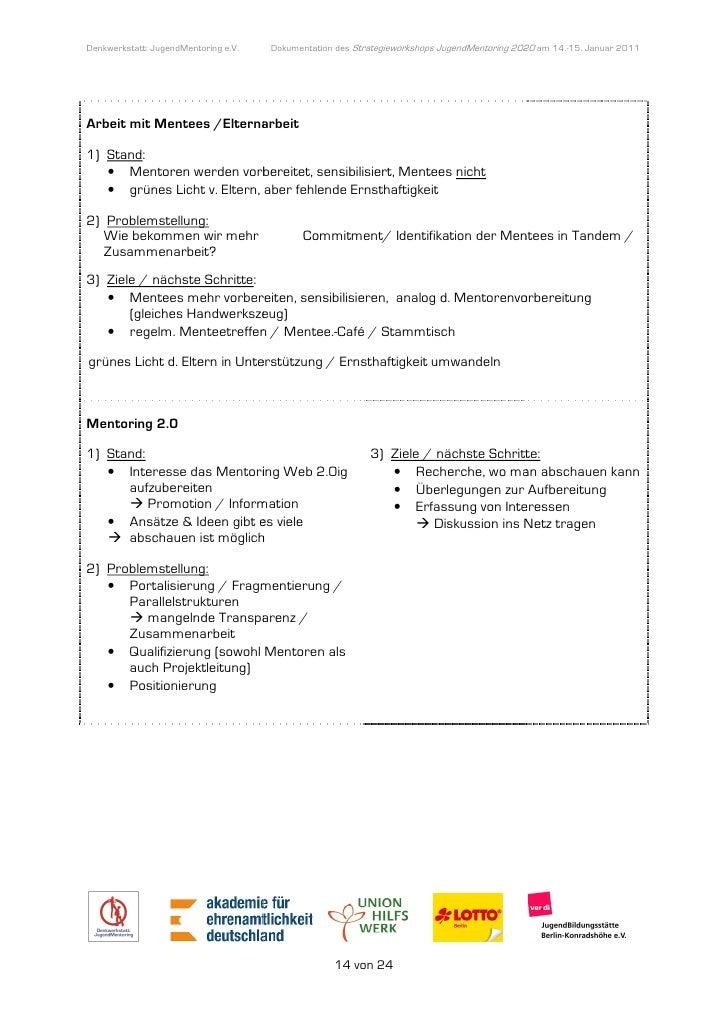 Denkwerkstatt: JugendMentoring e.V.                  endMentoring        Dokumentation des Strategieworkshops JugendMentor...