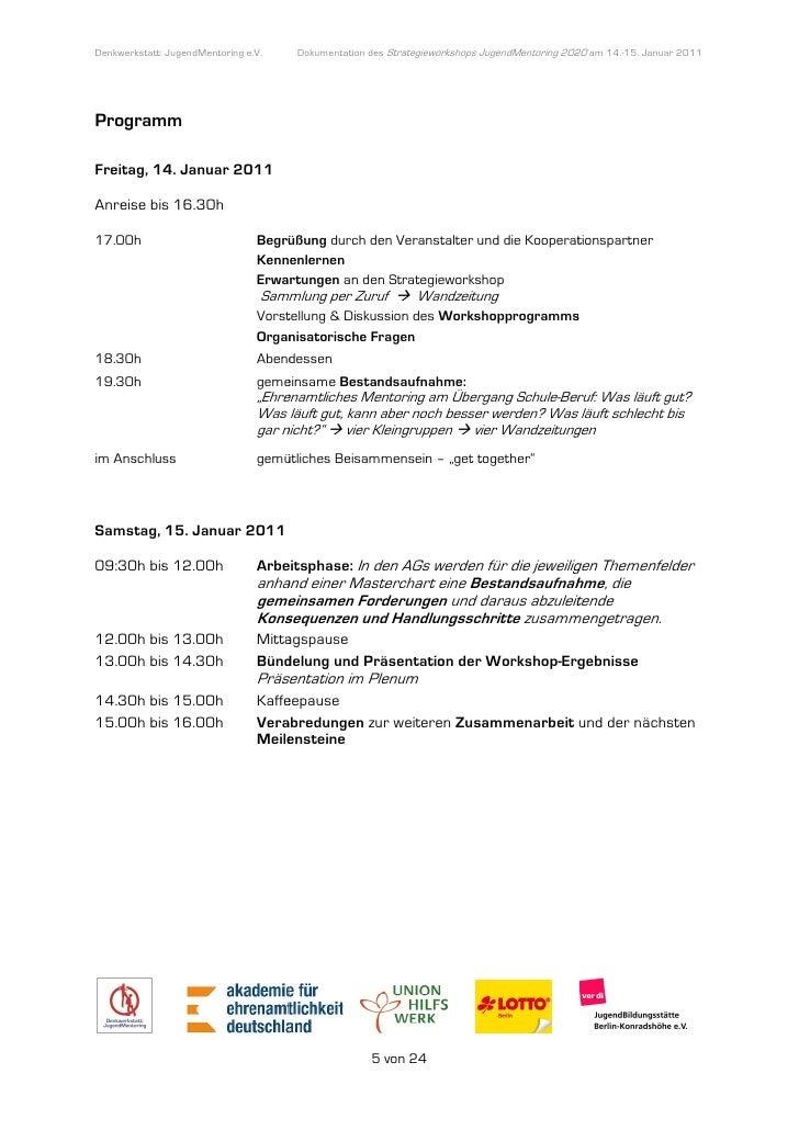 Denkwerkstatt: JugendMentoring e.V.                  endMentoring         Dokumentation des Strategieworkshops JugendMento...
