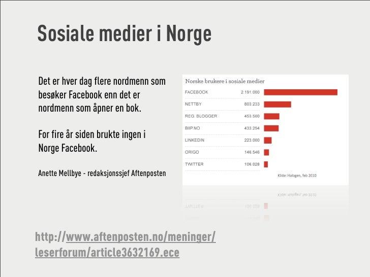Sosiale medier i Norge Det er hver dag flere nordmenn som besøker Facebook enn det er nordmenn som åpner en bok.  For fire...