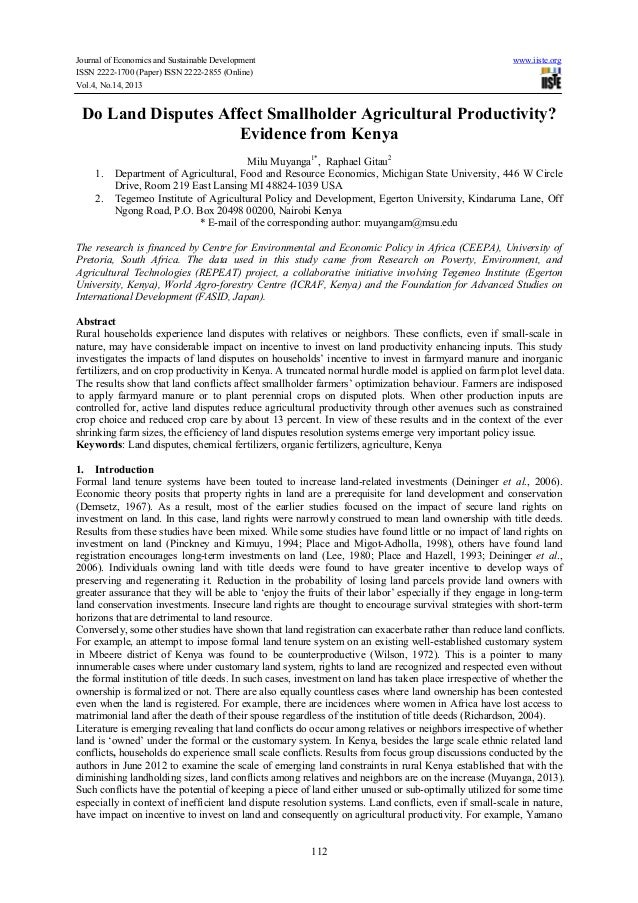 Journal of Economics and Sustainable Development ISSN 2222-1700 (Paper) ISSN 2222-2855 (Online) Vol.4, No.14, 2013  www.ii...