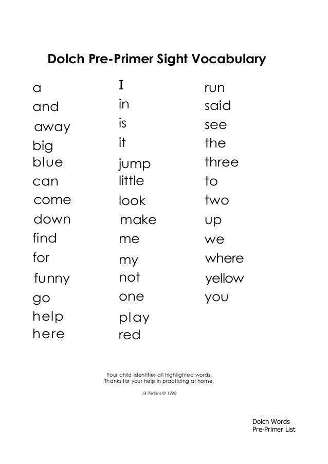 pre primer words