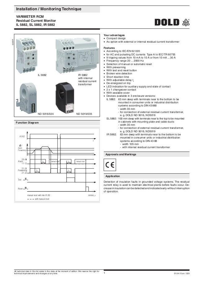 1 01.04.15 en / 529  Installation / Monitoring Technique  VARIMETER RCM  Residual Current Monitor  IL 5882, SL 5882, I...