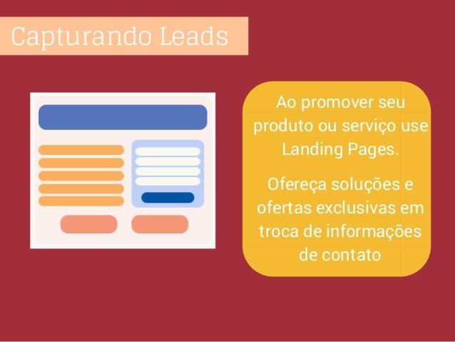 Capturando Leads Ao promover seu produto ou serviço use Landing Pages. Ofereça soluções e ofertas exclusivas em troca de i...