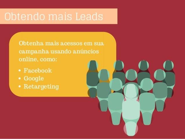 Obtendo mais Leads Obtenha mais acessos em sua campanha usando anúncios online, como: Facebook Google Retargeting
