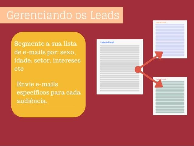 Gerenciando os Leads Segmente a sua lista de e-mails por: sexo, idade, setor, intereses etc Envie e-mails específicos para...