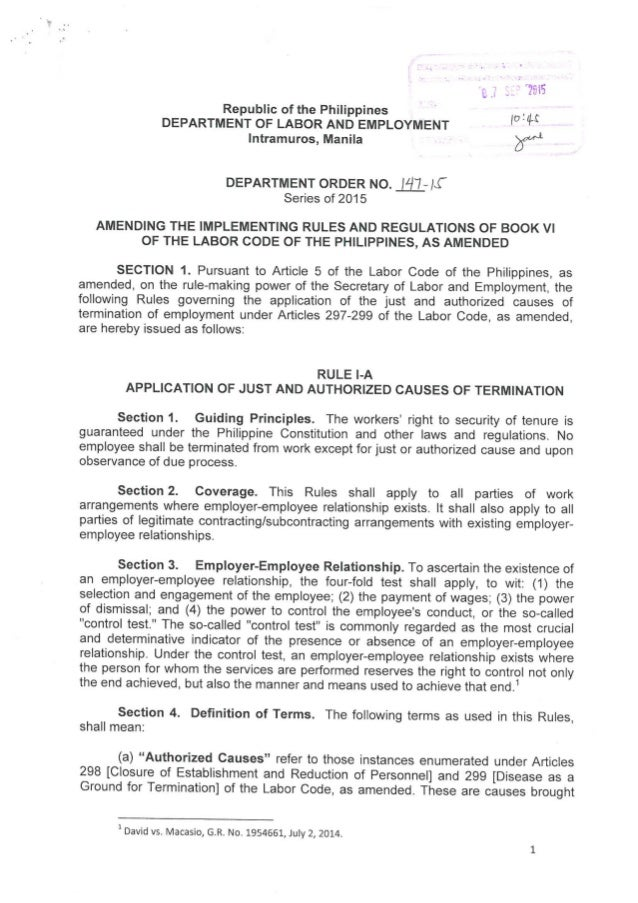 Rule I-A. Application of Just and Authorized Causes of Termination (DOLE Department Order No. 147-15).