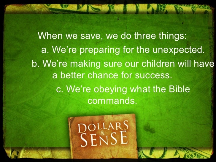 2. It should be invested. Ecclesiastes 11:2 But divideyour investments among many  places, for you do not know  what risks...