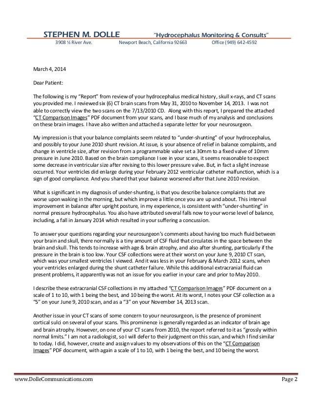 NPH Hydrocephalus Patient Consult Report w/ Review of CT Brain Images Slide 2