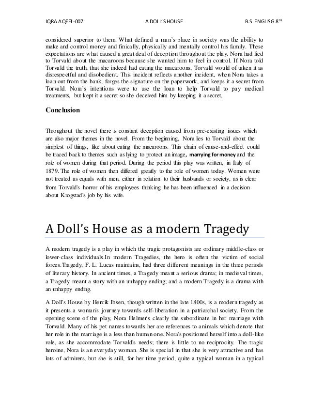 analytical essay a dolls house Home free essays a multimedia analysis of 'a doll's house' in henrik ibsen's 'a doll's house', the1973 movie version by joseph losey better depicts a more compelling story than the written version, specifically with the character of christine linde.