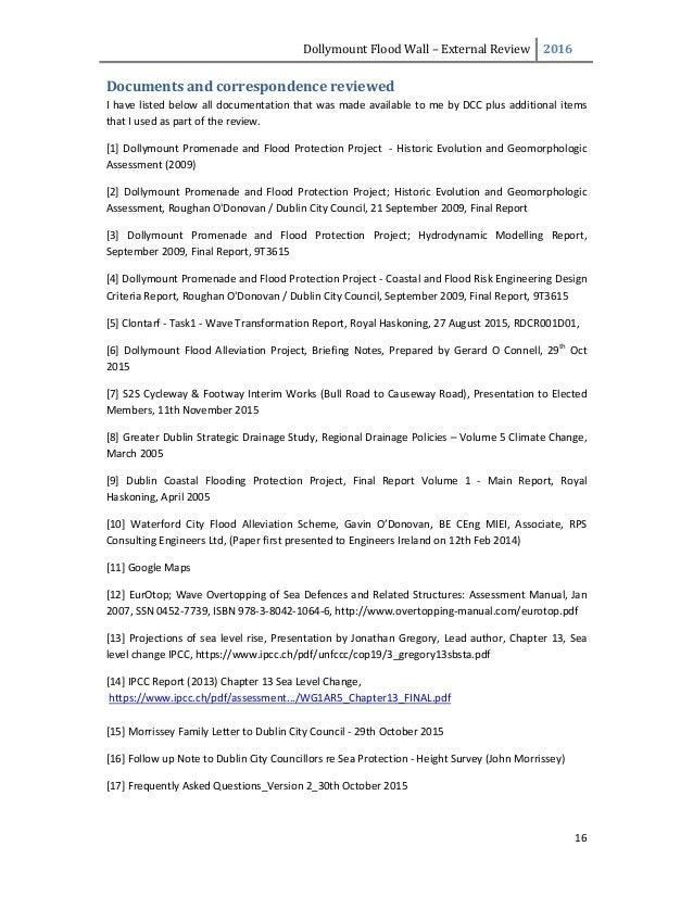 DollymountFloodWall– ExternalReview 2016  16  Documentsandcorrespondencereviewed Ihavelistedbelowalldocum...