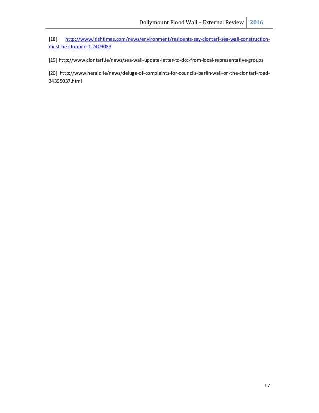 DollymountFloodWall– ExternalReview 2016  17  [18] http://www.irishtimes.com/news/environment/residents‐say‐clont...