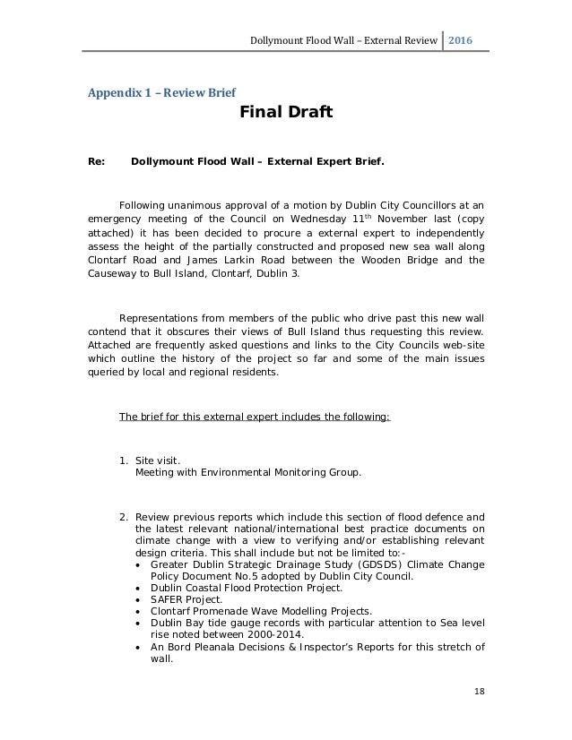 DollymountFloodWall– ExternalReview 2016  18  Appendix1–ReviewBrief Final Draft Re: Dollymount Flood Wall – E...