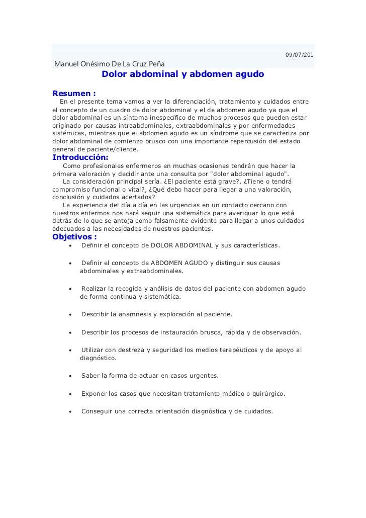 09/07/201Manuel Onésimo De La Cruz Peña               Dolor abdominal y abdomen agudoResumen :   En el presente tema vamos...