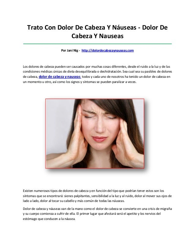 Trato Con Dolor De Cabeza Y Náuseas - Dolor DeCabeza Y Nauseas____________________________________________________________...