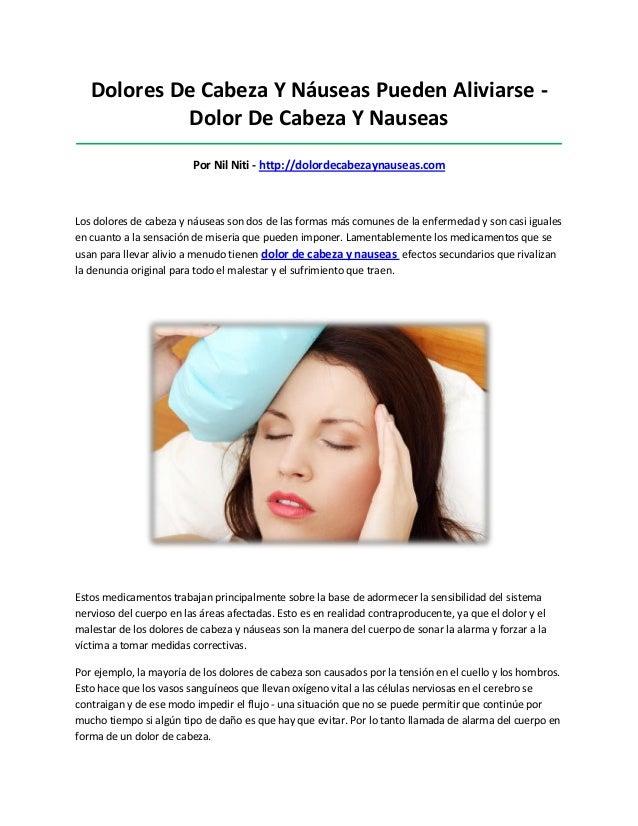 Dolores De Cabeza Y Náuseas Pueden Aliviarse -Dolor De Cabeza Y Nauseas___________________________________________________...