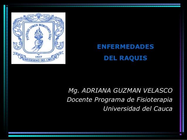 Mg. ADRIANA GUZMAN VELASCO Docente Programa de Fisioterapia Universidad del Cauca ENFERMEDADES DEL RAQUIS
