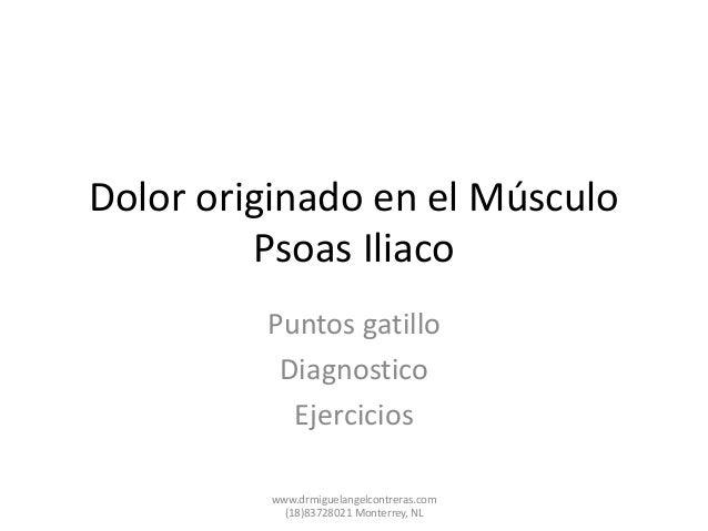 Dolor originado en el Músculo Psoas Iliaco Puntos gatillo Diagnostico Ejercicios www.drmiguelangelcontreras.com (18)837280...