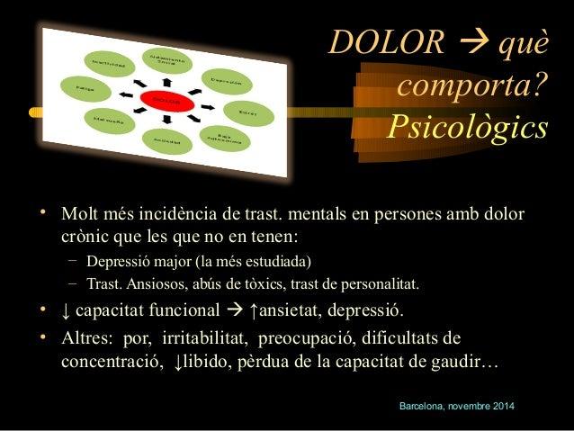 DOLOR  què  comporta?  Psicològics  • Molt més incidència de trast. mentals en persones amb dolor  crònic que les que no ...