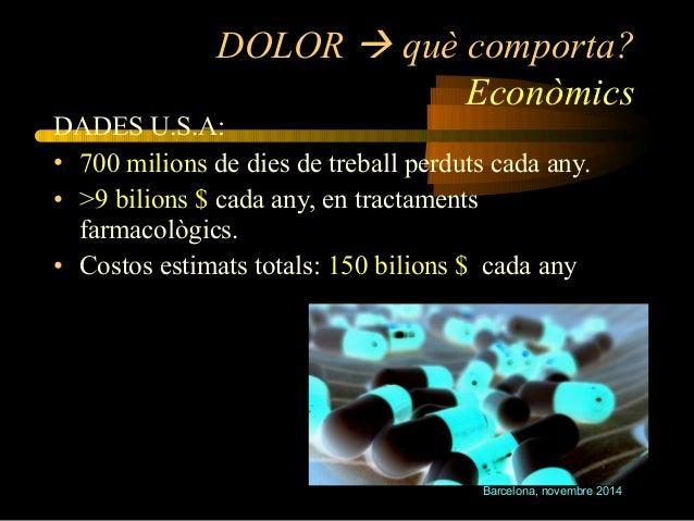 DOLOR  què comporta?  Econòmics  DADES U.S.A:  • 700 milions de dies de treball perduts cada any.  • >9 bilions $ cada an...