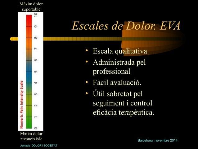 Barcelona, novembre 2014  Màxim dolor  suportable  Jornada DOLOR i SOCIETAT  Escales de Dolor. EVA  • Escala qualitativa  ...