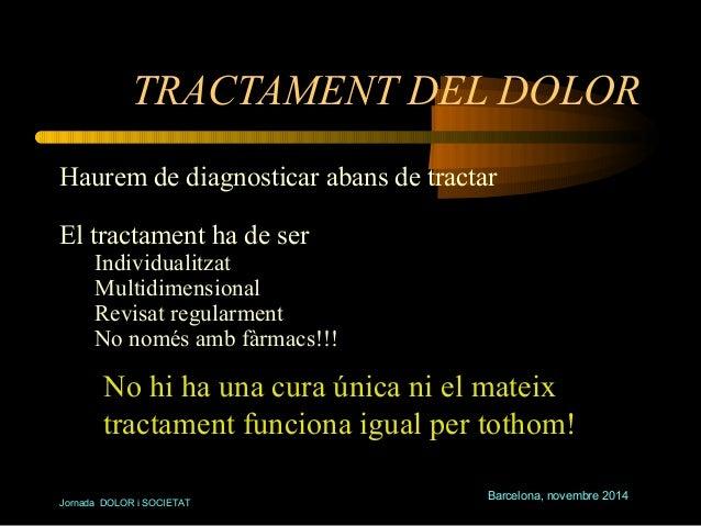 TRACTAMENT DEL DOLOR  Haurem de diagnosticar abans de tractar  El tractament ha de ser  Individualitzat  Multidimensional ...