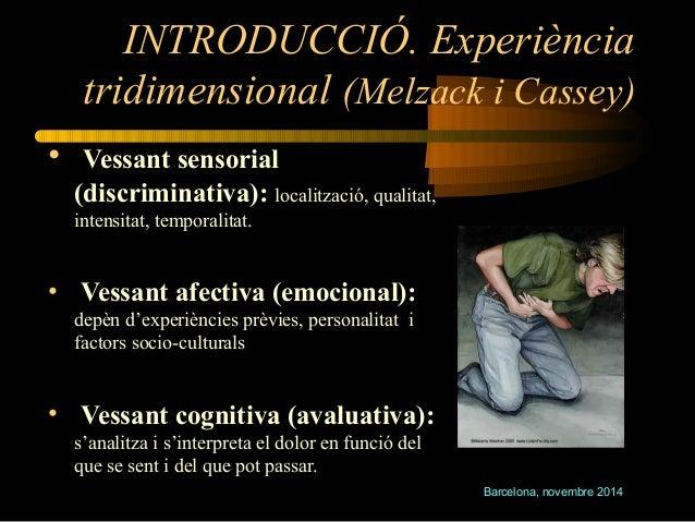INTRODUCCIÓ. Experiència  tridimensional (Melzack i Cassey)  • Vessant sensorial  (discriminativa): localització, qualitat...