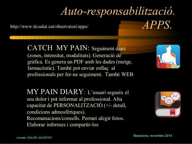 Auto-responsabilització.  APPS.  Barcelona, novembre 2014  http://www.ticsalut.cat/observatori/apps/  CATCH MY PAIN: Segui...
