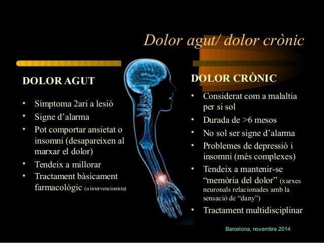 Dolor agut/ dolor crònic  Barcelona, novembre 2014  DOLOR AGUT  • Símptoma 2ari a lesió  • Signe d'alarma  • Pot comportar...