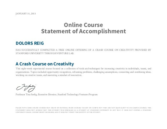 JANUARY 31, 2013                                Online Course                         Statement of AccomplishmentDOLORS RE...