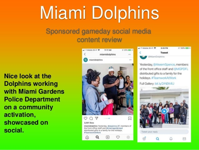 Miami Dolphins Sponsored Gameday Social Media Content Review