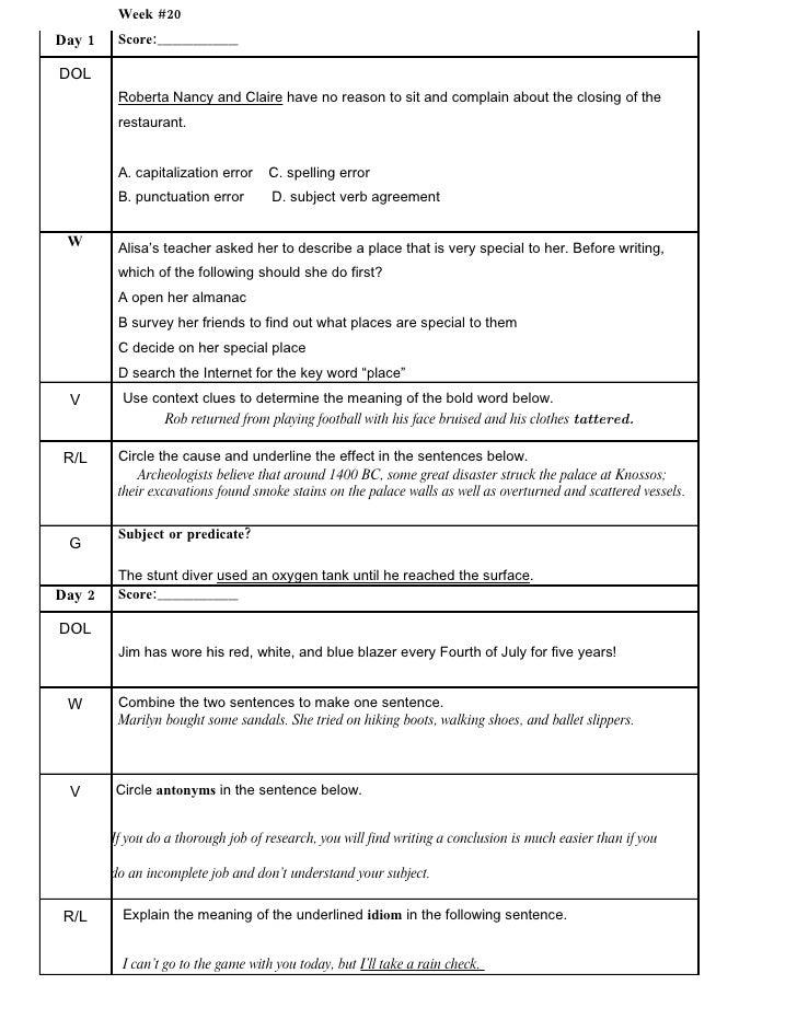 Dol Third 9wks – Dol Worksheets