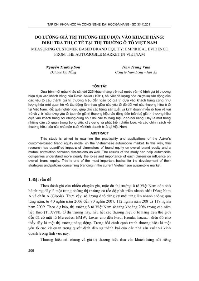 TẠP CHÍ KHOA HỌC VÀ CÔNG NGHỆ, ĐẠI HỌC ĐÀ NẴNG - SỐ 3(44).2011206ĐO LƯỜNG GIÁ TRỊ THƯƠNG HIỆU DỰA VÀO KHÁCH HÀNG:ĐIỀU TRA ...