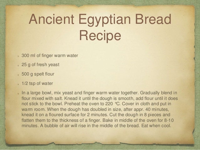Ancient Food Recipes From Egypt