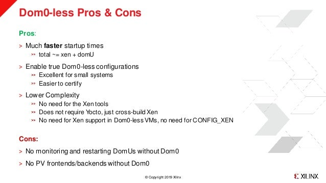 © Copyright 2019 Xilinx Dom0-less Pros & Cons Pros: ˃ Much faster startup times total ~= xen + domU ˃ Enable true Dom0-les...
