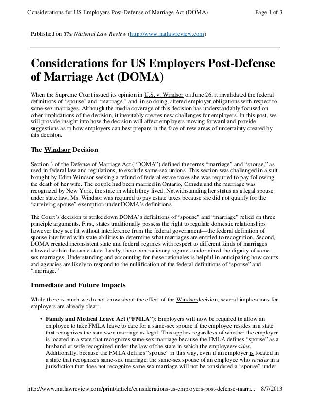 Published on The National Law Review (http://www.natlawreview.com) Considerations for US Employers Post-Defense of Marriag...