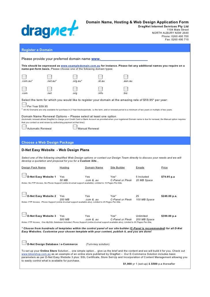 Domain Name, Hosting & Web Design Application Form                                                                        ...