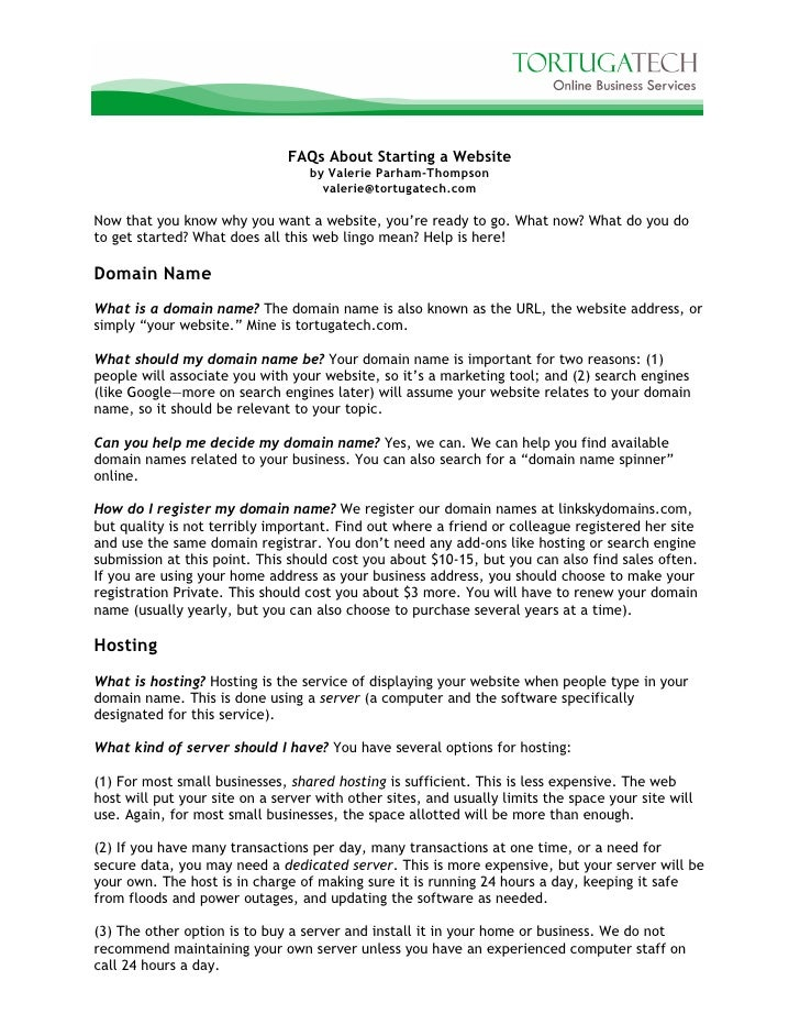 FAQs About Starting a Website                                   by Valerie Parham-Thompson                                ...