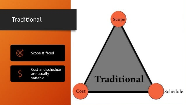 Traditional Scope is fixed Cost and schedule are usually variable