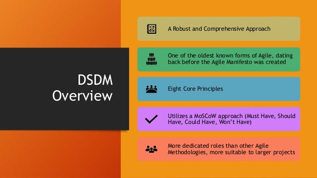 """DSDM Philosophy """"best business value emerges when projects are aligned to clear business goals, deliver frequently and inv..."""